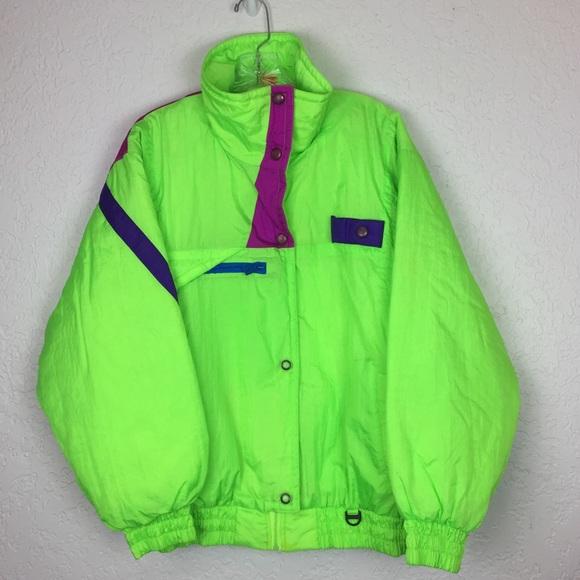 761ed5efab Vintage 80 s 90 s ski jacket neon women L NWT